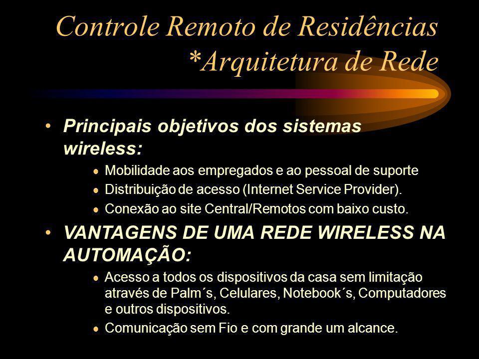 Controle Remoto de Residências *Arquitetura de Rede Principais objetivos dos sistemas wireless: Mobilidade aos empregados e ao pessoal de suporte Dist