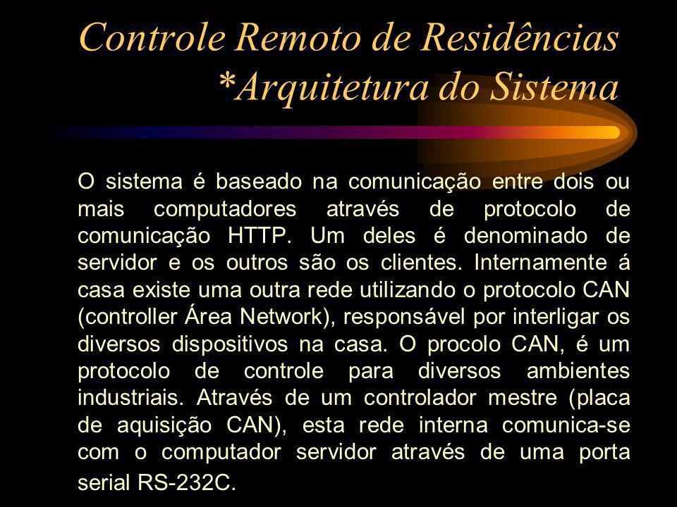Controle Remoto de Residências *Arquitetura do Sistema O sistema é baseado na comunicação entre dois ou mais computadores através de protocolo de comu