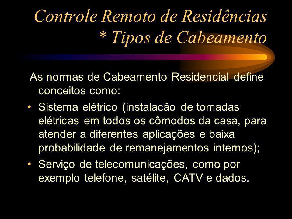 Controle Remoto de Residências * Tipos de Cabeamento As normas de Cabeamento Residencial define conceitos como: Sistema elétrico (instalacão de tomada