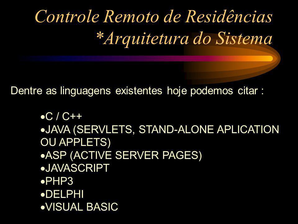 Controle Remoto de Residências *Arquitetura do Sistema Dentre as linguagens existentes hoje podemos citar : C / C++ JAVA (SERVLETS, STAND-ALONE APLICA