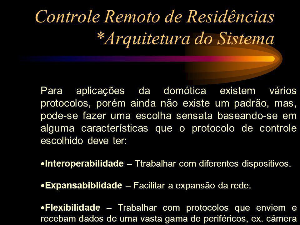 Controle Remoto de Residências *Arquitetura do Sistema Para aplicações da domótica existem vários protocolos, porém ainda não existe um padrão, mas, p