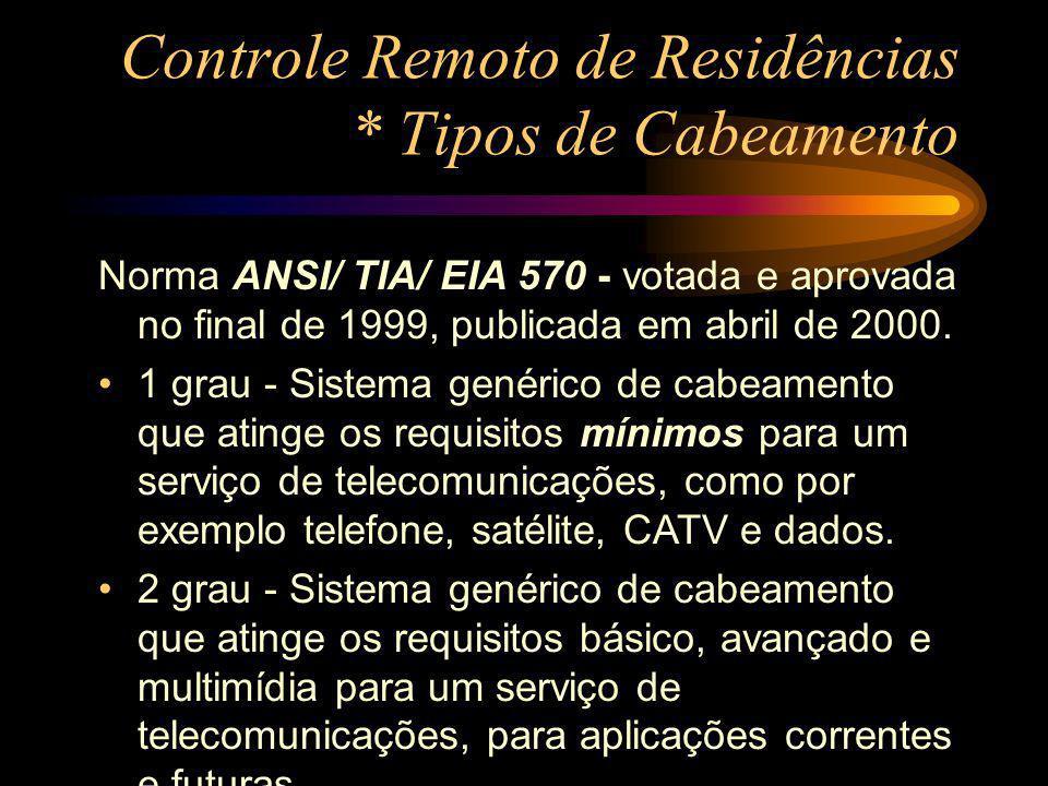 Controle Remoto de Residências * Tipos de Cabeamento Norma ANSI/ TIA/ EIA 570 - votada e aprovada no final de 1999, publicada em abril de 2000. 1 grau