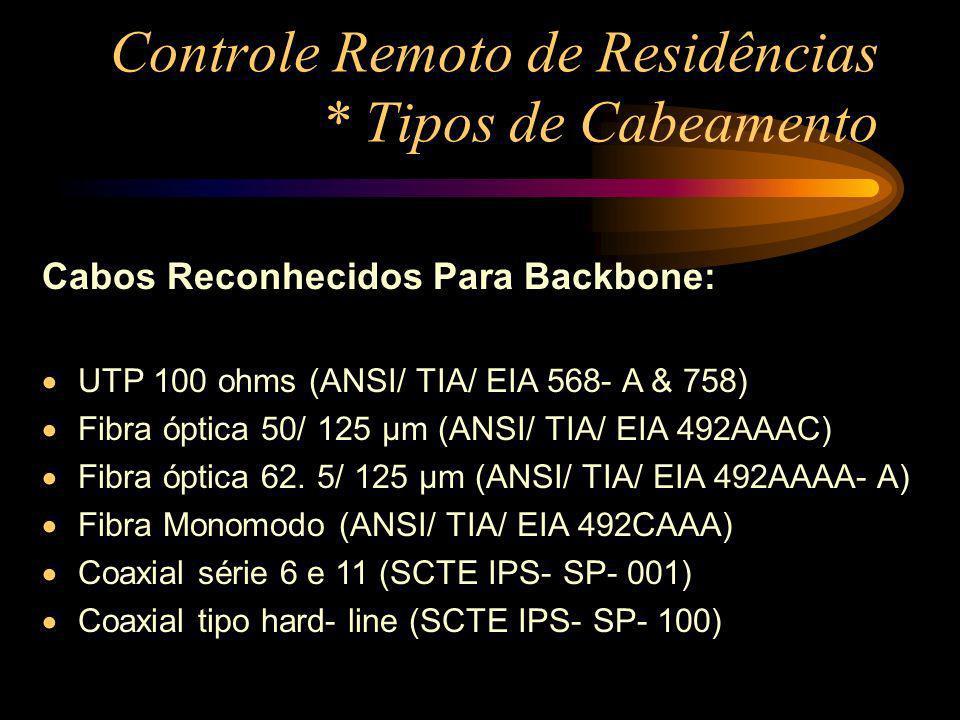 Controle Remoto de Residências * Tipos de Cabeamento Cabos Reconhecidos Para Backbone: UTP 100 ohms (ANSI/ TIA/ EIA 568- A & 758) Fibra óptica 50/ 125