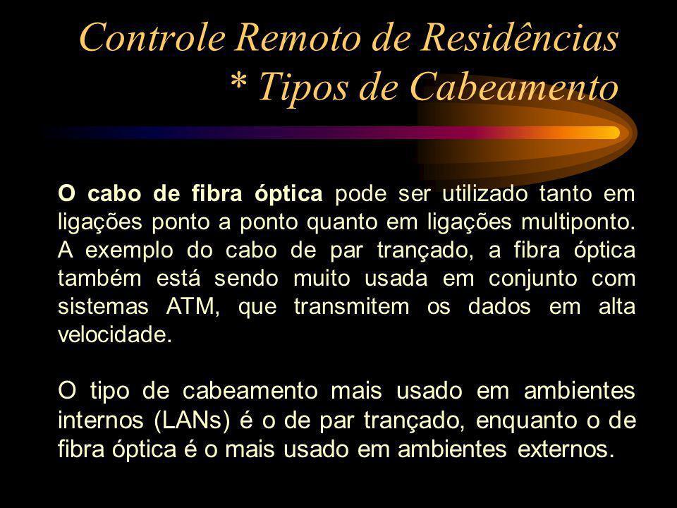 Controle Remoto de Residências * Tipos de Cabeamento O cabo de Coaxial A maioria dos sistemas de transmissão de banda base utilizam cabos de impedância com características de 50 Ohm, geralmente utilizados nas TVs a cabo e em redes de banda larga.