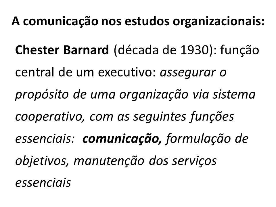 A comunicação nos estudos organizacionais: Chester Barnard (década de 1930): função central de um executivo: assegurar o propósito de uma organização