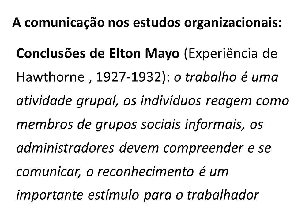 A comunicação nos estudos organizacionais: Conclusões de Elton Mayo (Experiência de Hawthorne, 1927-1932): o trabalho é uma atividade grupal, os indiv
