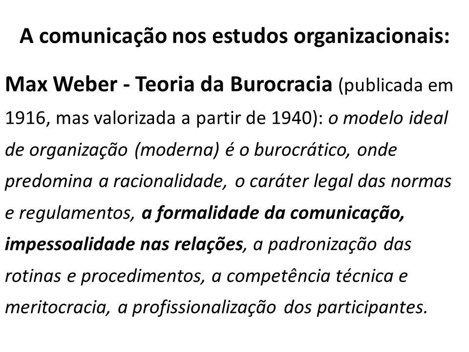 A comunicação nos estudos organizacionais: Max Weber - Teoria da Burocracia (publicada em 1916, mas valorizada a partir de 1940): o modelo ideal de or
