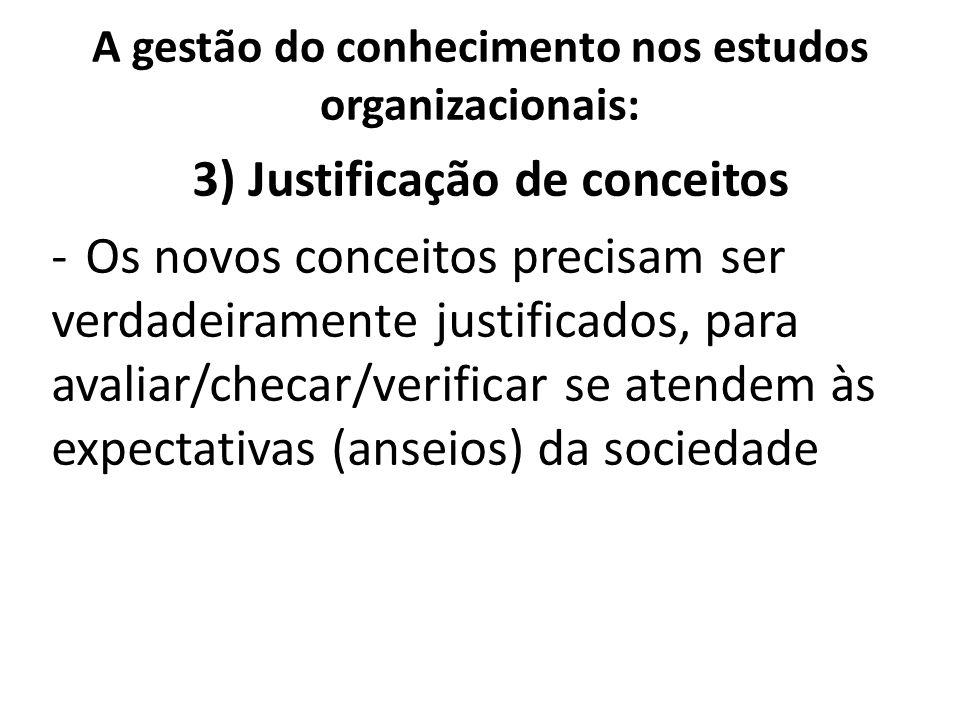 A gestão do conhecimento nos estudos organizacionais: 3) Justificação de conceitos -Os novos conceitos precisam ser verdadeiramente justificados, para