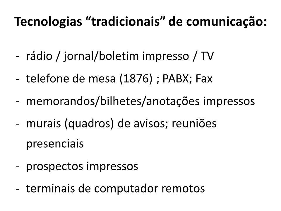 Tecnologias tradicionais de comunicação: -rádio / jornal/boletim impresso / TV -telefone de mesa (1876) ; PABX; Fax -memorandos/bilhetes/anotações imp