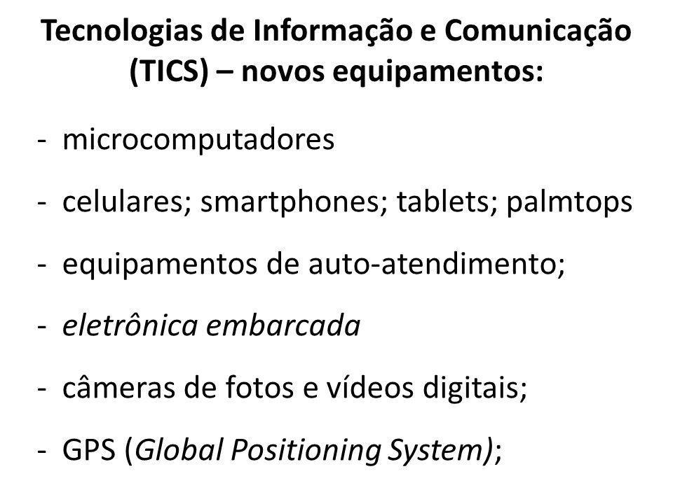 Tecnologias de Informação e Comunicação (TICS) – novos equipamentos: -microcomputadores -celulares; smartphones; tablets; palmtops -equipamentos de au