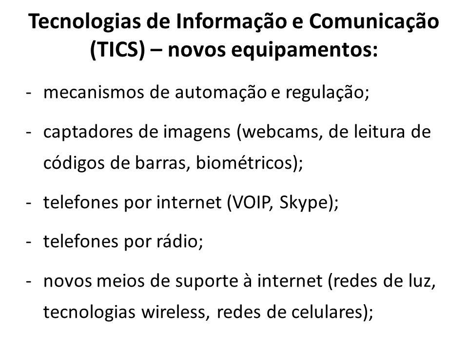 Tecnologias de Informação e Comunicação (TICS) – novos equipamentos: -mecanismos de automação e regulação; -captadores de imagens (webcams, de leitura