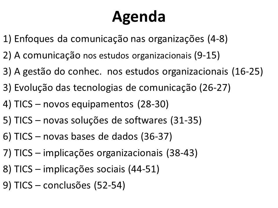 Agenda 1) Enfoques da comunicação nas organizações (4-8) 2) A comunicação nos estudos organizacionais (9-15) 3) A gestão do conhec. nos estudos organi