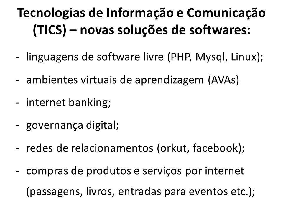 Tecnologias de Informação e Comunicação (TICS) – novas soluções de softwares: -linguagens de software livre (PHP, Mysql, Linux); -ambientes virtuais d