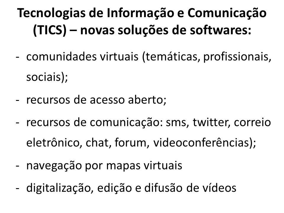 Tecnologias de Informação e Comunicação (TICS) – novas soluções de softwares: -comunidades virtuais (temáticas, profissionais, sociais); -recursos de