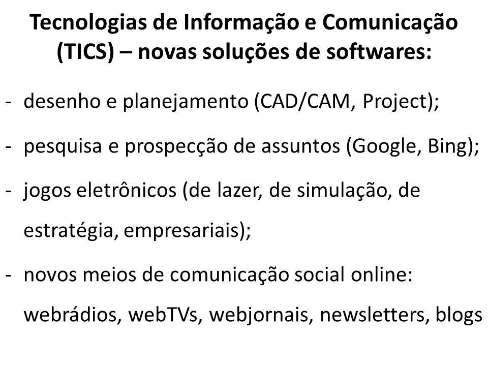 Tecnologias de Informação e Comunicação (TICS) – novas soluções de softwares: -desenho e planejamento (CAD/CAM, Project); -pesquisa e prospecção de as