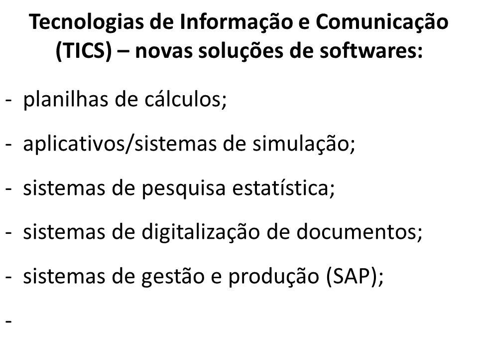 Tecnologias de Informação e Comunicação (TICS) – novas soluções de softwares: -planilhas de cálculos; -aplicativos/sistemas de simulação; -sistemas de
