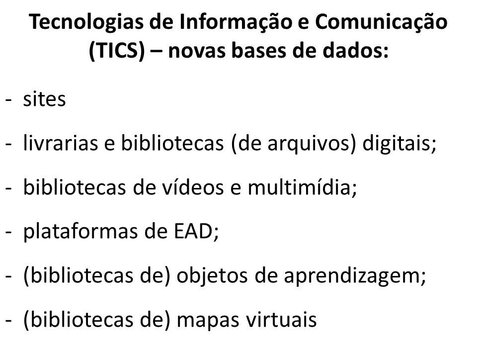 Tecnologias de Informação e Comunicação (TICS) – novas bases de dados: -sites -livrarias e bibliotecas (de arquivos) digitais; -bibliotecas de vídeos