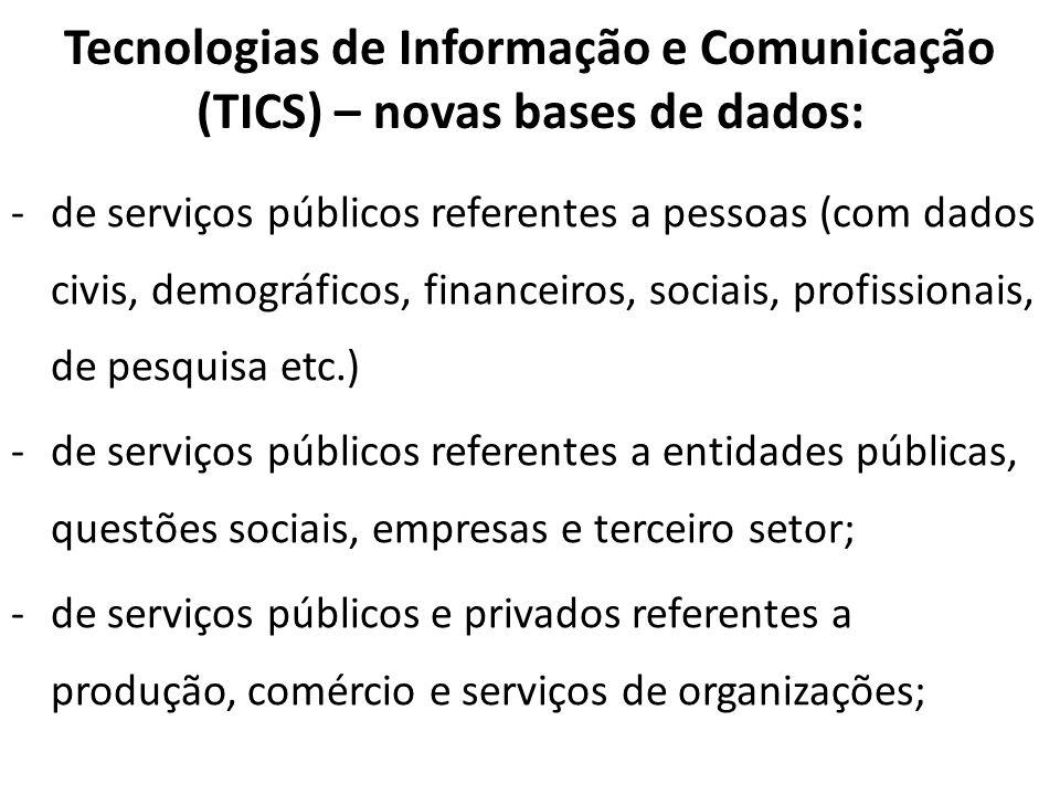 Tecnologias de Informação e Comunicação (TICS) – novas bases de dados: -de serviços públicos referentes a pessoas (com dados civis, demográficos, fina