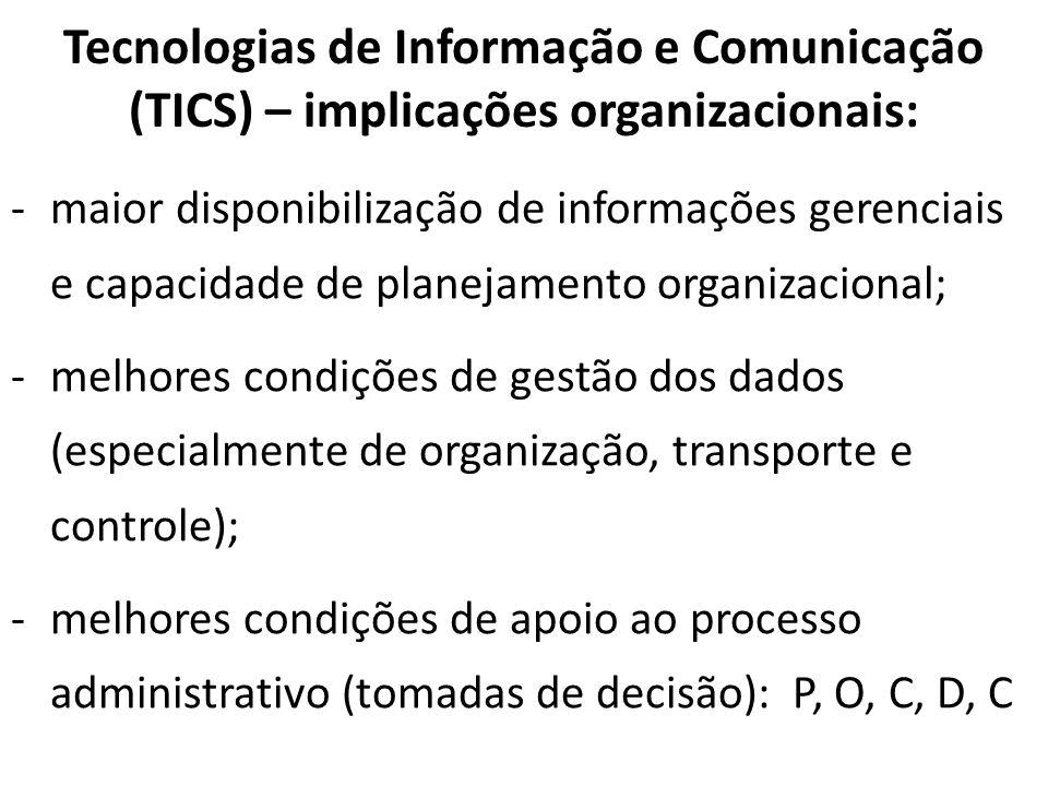 Tecnologias de Informação e Comunicação (TICS) – implicações organizacionais: -maior disponibilização de informações gerenciais e capacidade de planej