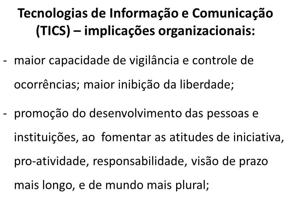 Tecnologias de Informação e Comunicação (TICS) – implicações organizacionais: -maior capacidade de vigilância e controle de ocorrências; maior inibiçã