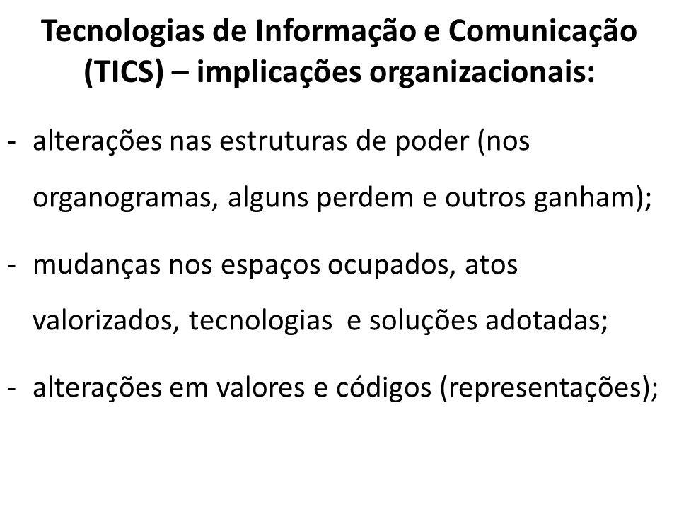 Tecnologias de Informação e Comunicação (TICS) – implicações organizacionais: -alterações nas estruturas de poder (nos organogramas, alguns perdem e o