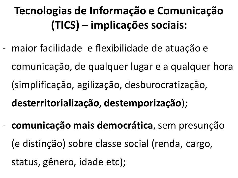 Tecnologias de Informação e Comunicação (TICS) – implicações sociais: -maior facilidade e flexibilidade de atuação e comunicação, de qualquer lugar e