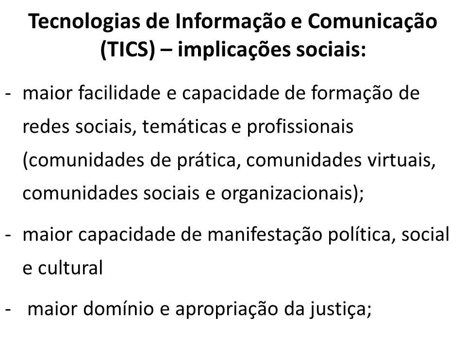 Tecnologias de Informação e Comunicação (TICS) – implicações sociais: -maior facilidade e capacidade de formação de redes sociais, temáticas e profiss