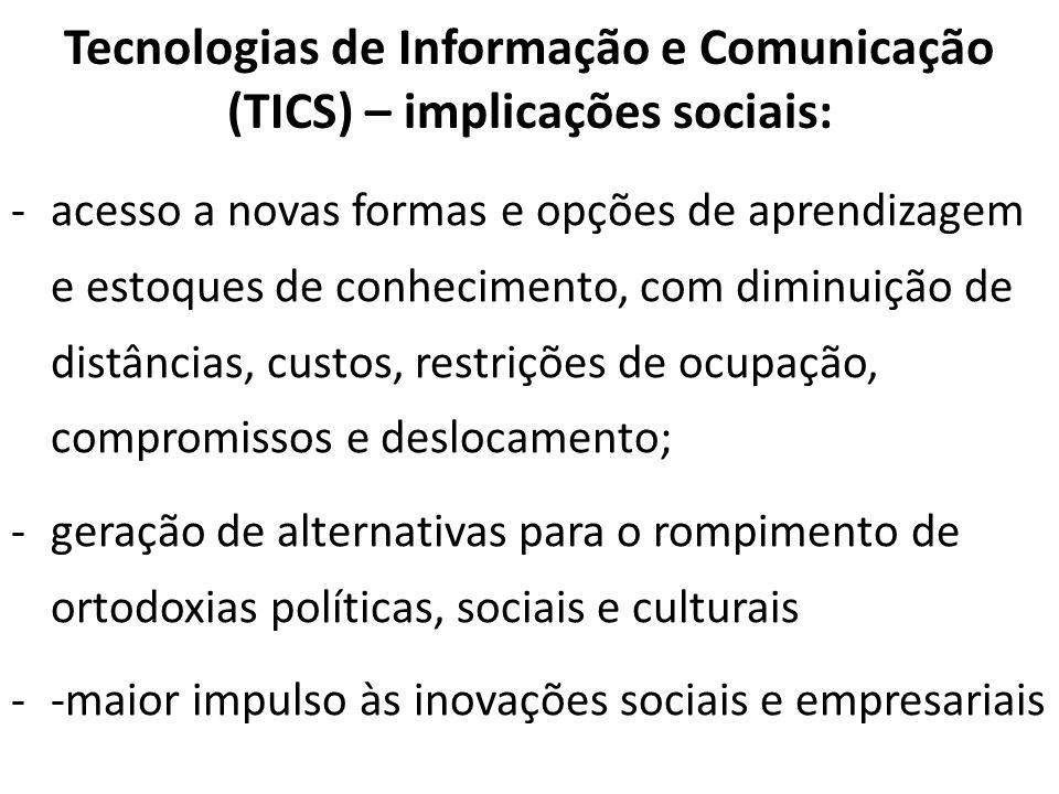 Tecnologias de Informação e Comunicação (TICS) – implicações sociais: -acesso a novas formas e opções de aprendizagem e estoques de conhecimento, com