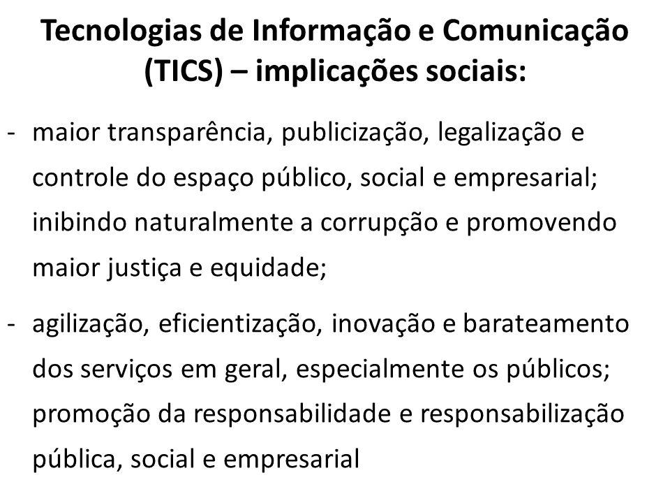 Tecnologias de Informação e Comunicação (TICS) – implicações sociais: -maior transparência, publicização, legalização e controle do espaço público, so