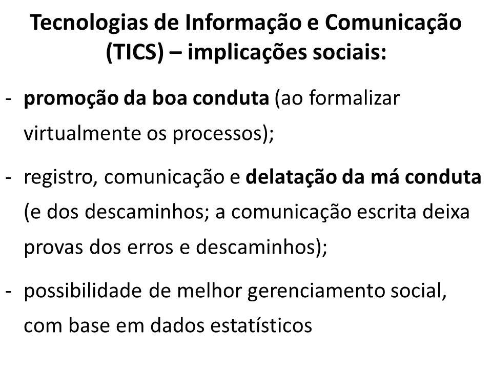 Tecnologias de Informação e Comunicação (TICS) – implicações sociais: -promoção da boa conduta (ao formalizar virtualmente os processos); -registro, c
