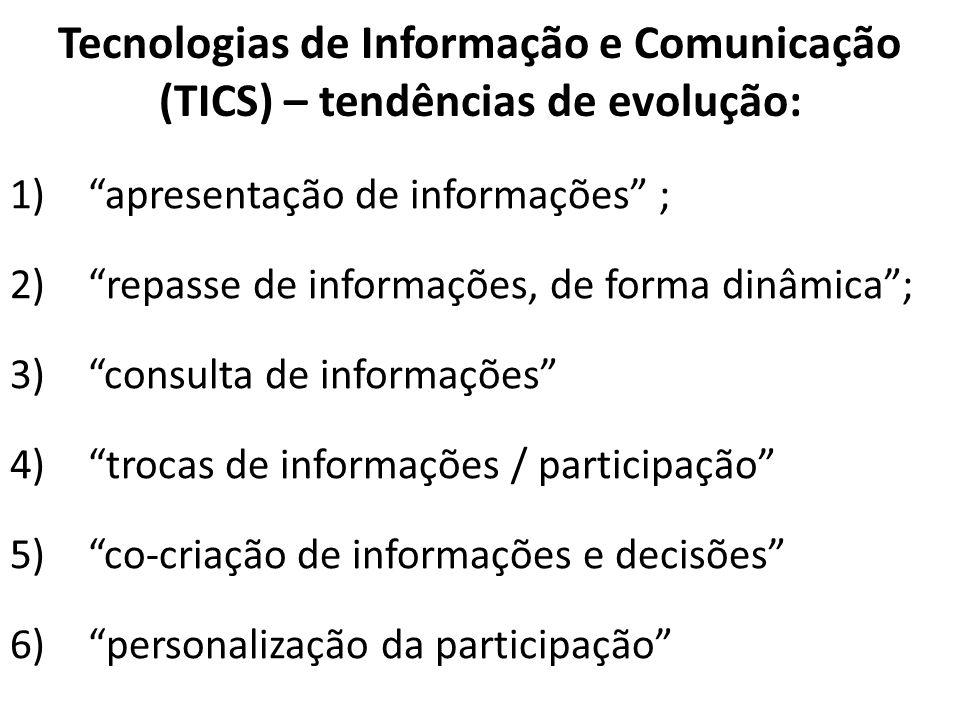 Tecnologias de Informação e Comunicação (TICS) – tendências de evolução: 1)apresentação de informações ; 2)repasse de informações, de forma dinâmica;