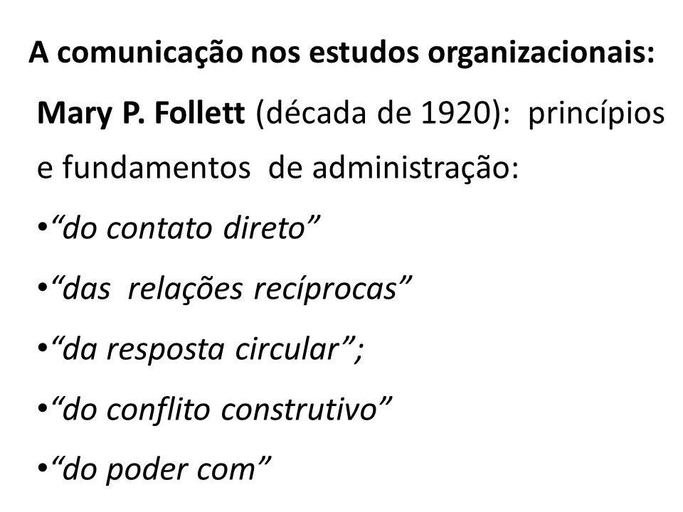 A comunicação nos estudos organizacionais: Mary P. Follett (década de 1920): princípios e fundamentos de administração: do contato direto das relações