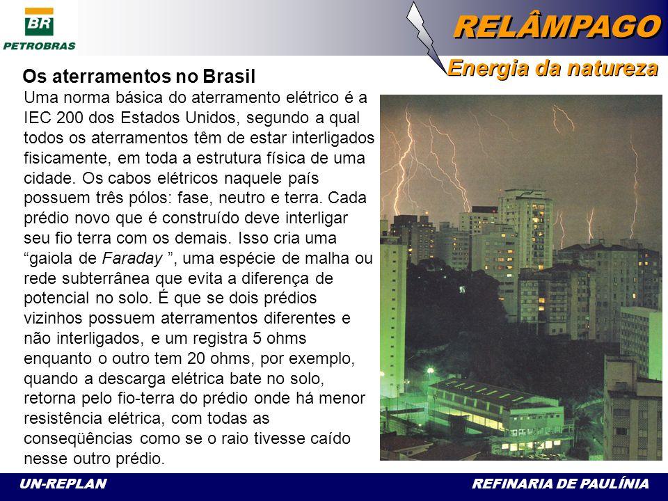 UN-REPLAN REFINARIA DE PAULÍNIA RELÂMPAGO Energia da natureza Embora o Brasil seja detentor de tecnologia de ponta em termo de proteção contra descargas atmosféricas, no cotidiano os sistemas de aterramento utilizados nos prédios e nas casas – quando existem - deixam muito a desejar.