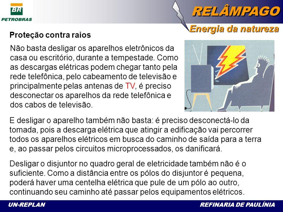UN-REPLAN REFINARIA DE PAULÍNIA RELÂMPAGO Energia da natureza Os aterramentos no Brasil Uma norma básica do aterramento elétrico é a IEC 200 dos Estados Unidos, segundo a qual todos os aterramentos têm de estar interligados fisicamente, em toda a estrutura física de uma cidade.