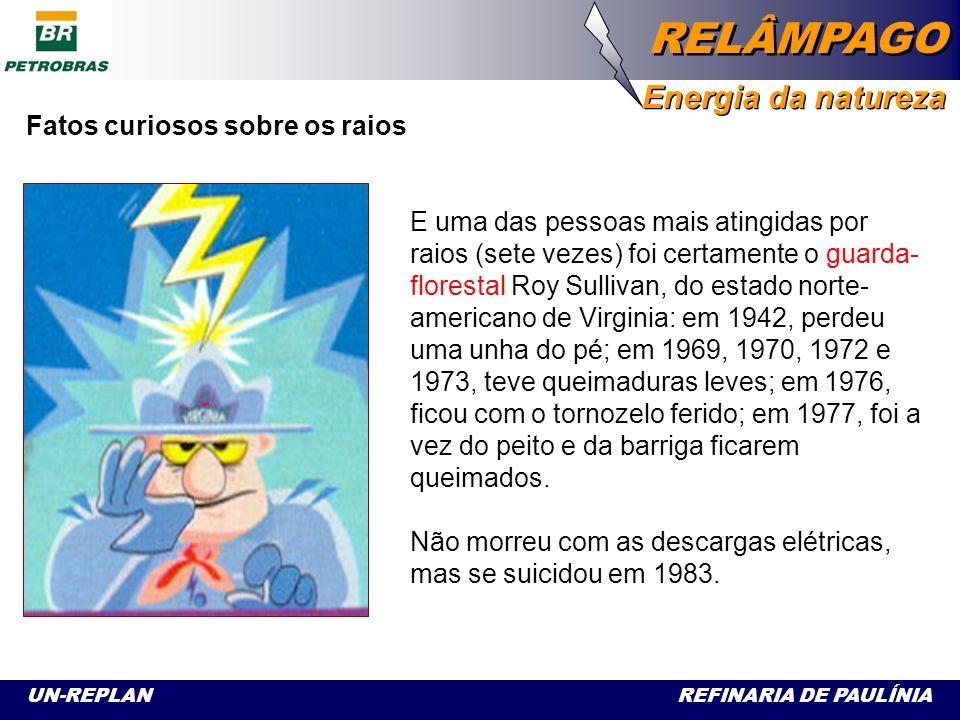 UN-REPLAN REFINARIA DE PAULÍNIA RELÂMPAGO Energia da natureza Fatos curiosos sobre os raios Ao contrário do dito popular, um segundo raio tem muitas possibilidades de cair no mesmo lugar que o primeiro, pois o campo elétrico que atraiu o primeiro raio ainda permanece por algum tempo, podendo atrair o segundo...