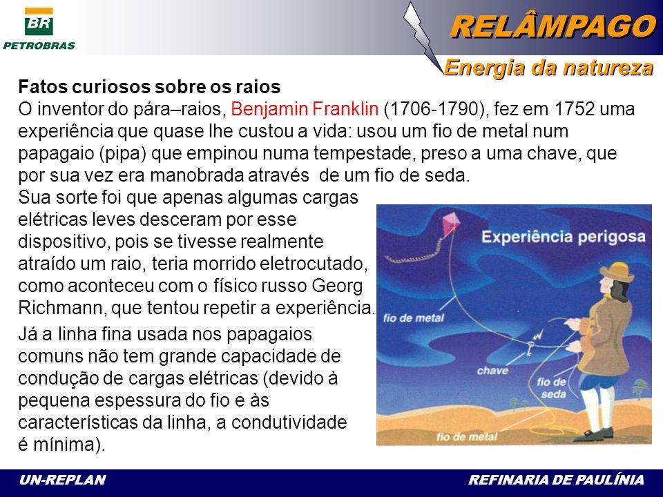 UN-REPLAN REFINARIA DE PAULÍNIA RELÂMPAGO Energia da natureza Relâmpago e Trovão Durante uma tempestade, verificou-se que ocorre uma separação de cargas elétricas, ficando as nuvens mais baixas eletrizadas negativamente enquanto que as mais altas, positivamente.