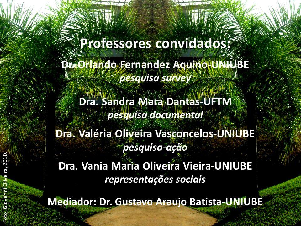 Professores convidados: Dr. Orlando Fernandez Aquino-UNIUBE pesquisa survey Dra. Sandra Mara Dantas-UFTM pesquisa documental Dra. Valéria Oliveira Vas