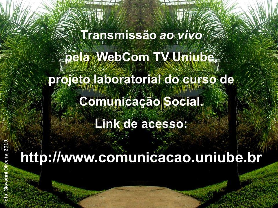 Transmissão ao vivo pela WebCom TV Uniube, projeto laboratorial do curso de Comunicação Social.