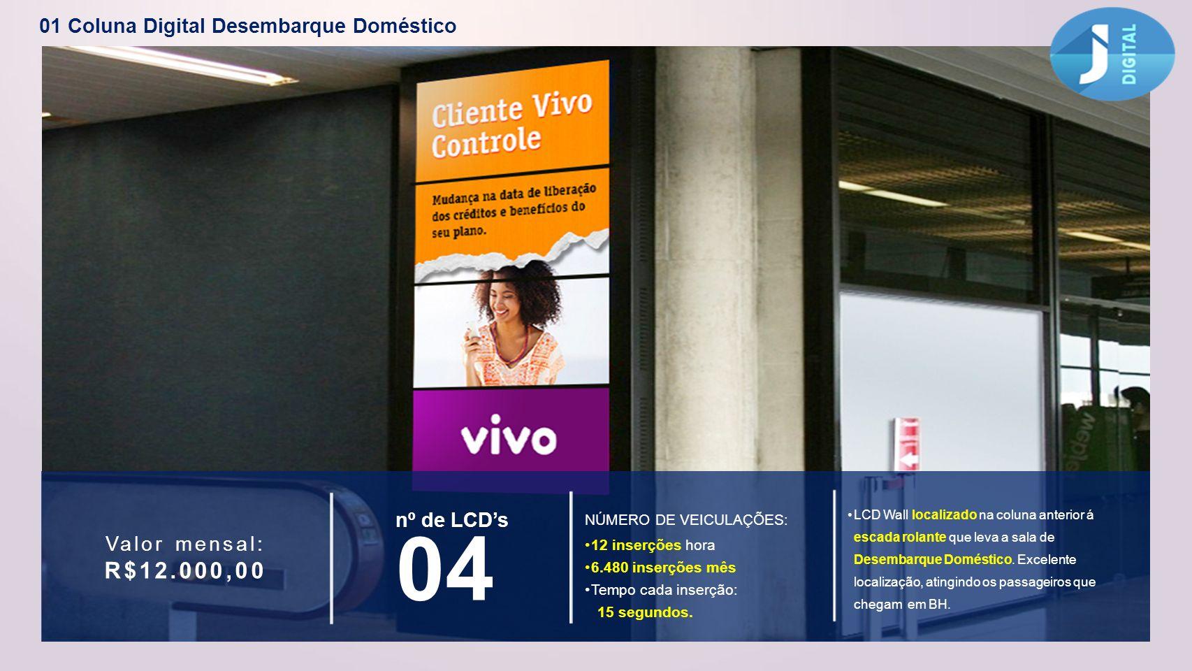 01 Coluna Digital Desembarque Doméstico R$12.000,00 Valor mensal: nº de LCDs 04 12 inserções hora 6.480 inserções mês Tempo cada inserção: 15 segundos
