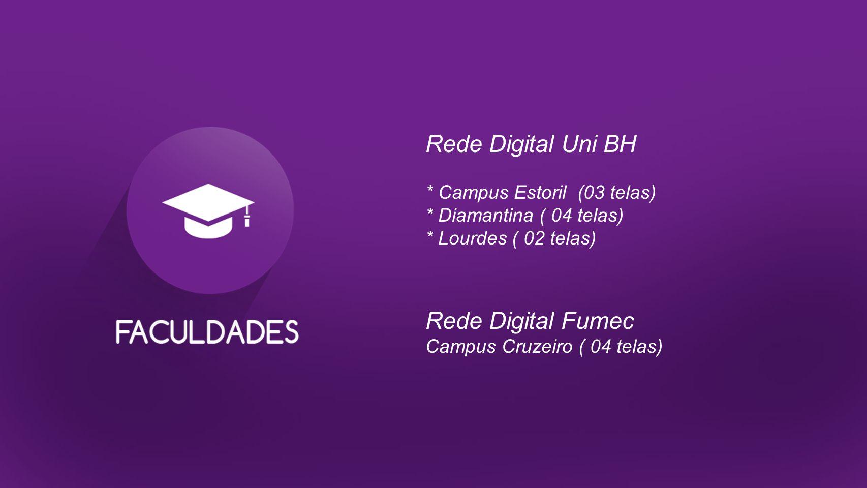 Rede Digital Uni BH * Campus Estoril (03 telas) * Diamantina ( 04 telas) * Lourdes ( 02 telas) Rede Digital Fumec Campus Cruzeiro ( 04 telas)