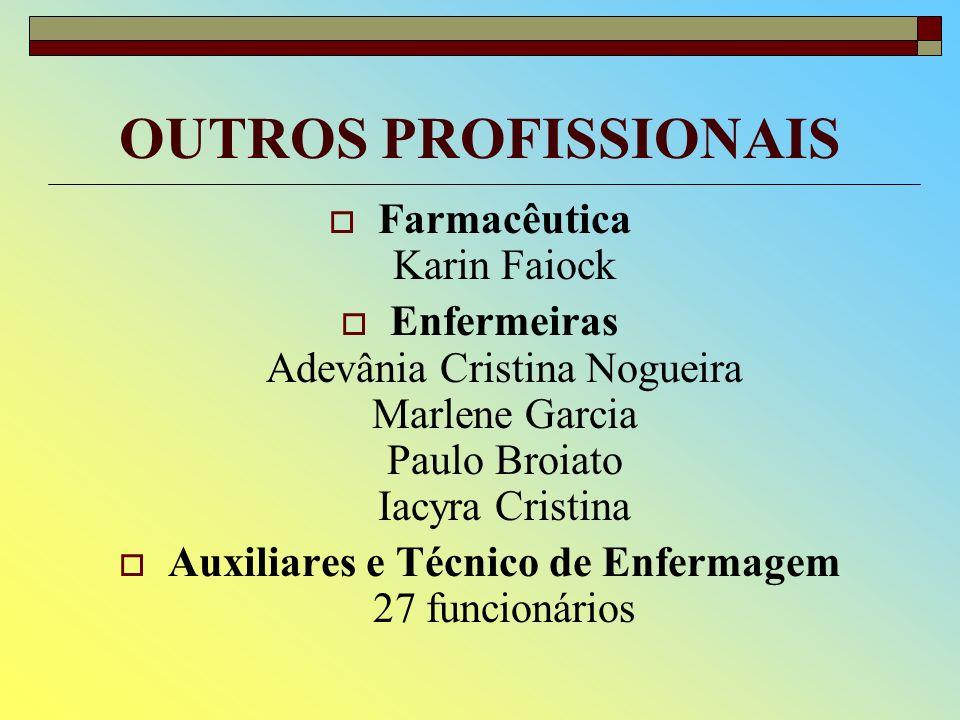 OUTROS PROFISSIONAIS Farmacêutica Karin Faiock Enfermeiras Adevânia Cristina Nogueira Marlene Garcia Paulo Broiato Iacyra Cristina Auxiliares e Técnico de Enfermagem 27 funcionários