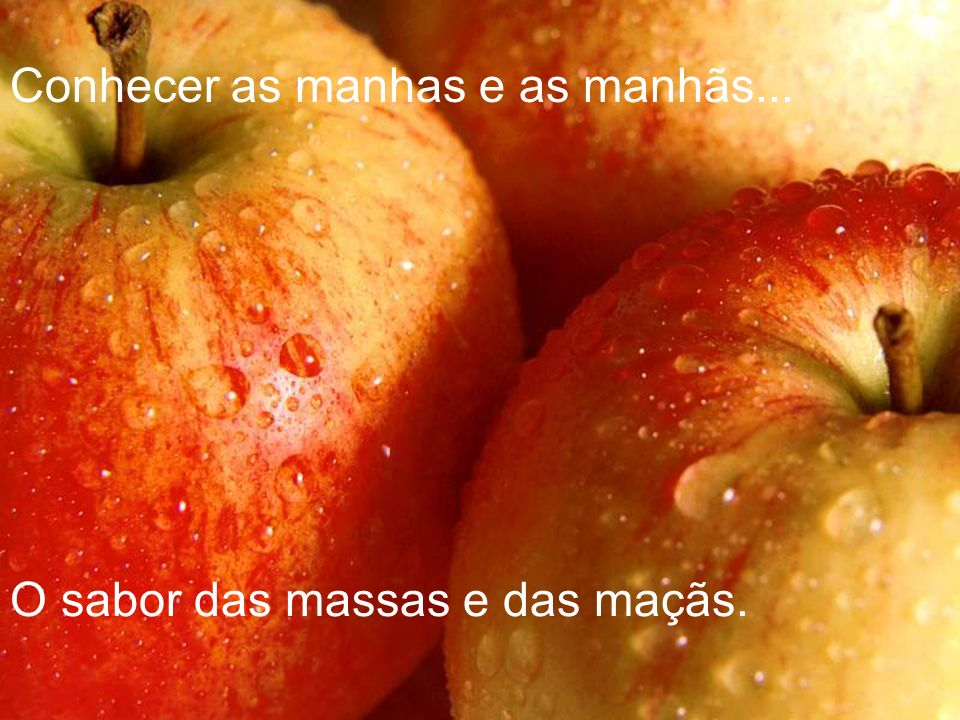 Conhecer as manhas e as manhãs... O sabor das massas e das maçãs.