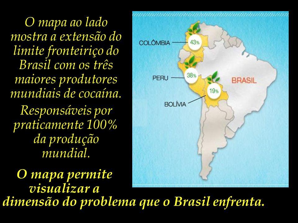 Grande parte da cocaína produzida nos países andinos atravessa as fronteiras rumo ao território brasileiro, seja para envio posterior à Europa e Améri