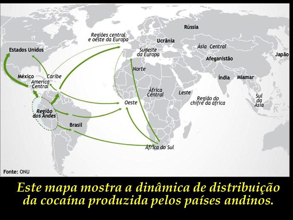O mapa ao lado mostra a extensão do limite fronteiriço do Brasil com os três maiores produtores mundiais de cocaína. Responsáveis por praticamente 100