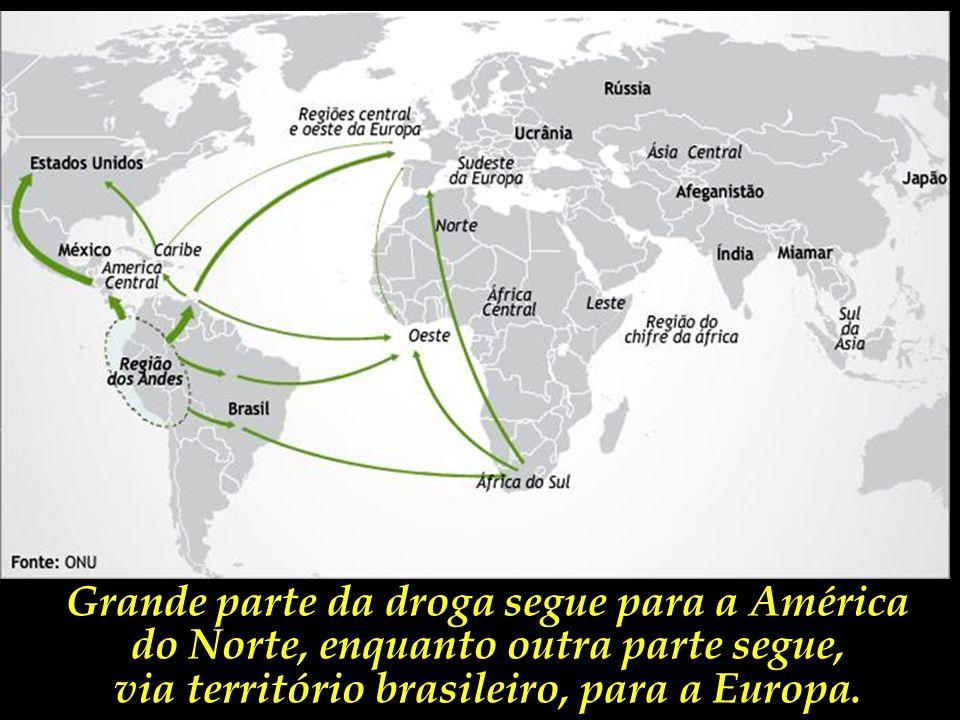Este mapa mostra a dinâmica de distribuição da cocaína produzida pelos países andinos.