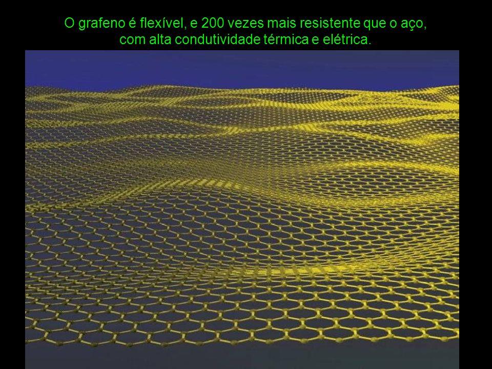 O grafeno é flexível, e 200 vezes mais resistente que o aço, com alta condutividade térmica e elétrica.