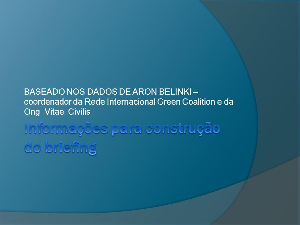 BASEADO NOS DADOS DE ARON BELINKI – coordenador da Rede Internacional Green Coalition e da Ong Vitae Civilis