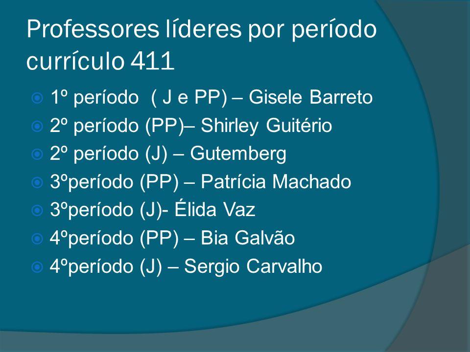Professores líderes por período currículo 411 1º período ( J e PP) – Gisele Barreto 2º período (PP)– Shirley Guitério 2º período (J) – Gutemberg 3ºper