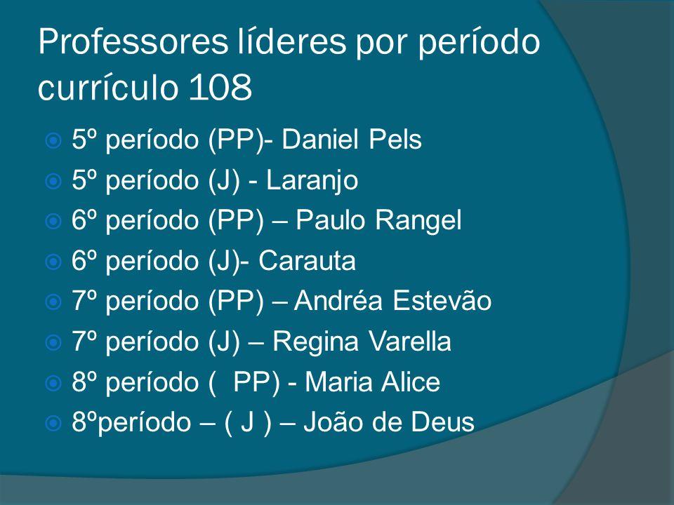 Professores líderes por período currículo 108 5º período (PP)- Daniel Pels 5º período (J) - Laranjo 6º período (PP) – Paulo Rangel 6º período (J)- Car