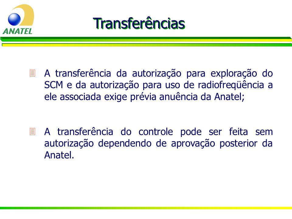 3A transferência da autorização para exploração do SCM e da autorização para uso de radiofreqüência a ele associada exige prévia anuência da Anatel; T